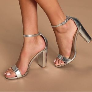 Taylor Silver Ankle Strap Heels